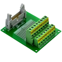 "CZH-LABS IDC-16 Male Header Connector Breakout Board Module, IDC Pitch 0.1"", Terminal Block Pitch 0.2"""