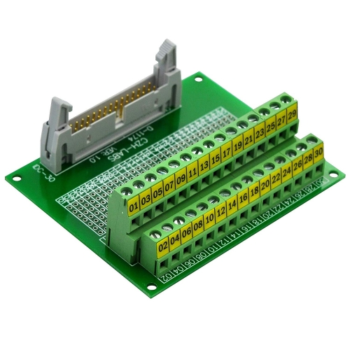 "CZH-LABS IDC-30 Male Header Connector Breakout Board Module, IDC Pitch 0.1"", Terminal Block Pitch 0.2"""