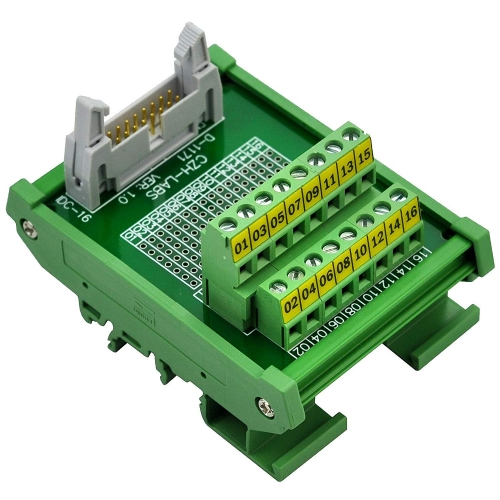 "CZH-LABS DIN Rail Mount IDC-16 Male Header Connector Breakout Board Interface Module, IDC Pitch 0.1"", Terminal Block Pitch 0.2"""