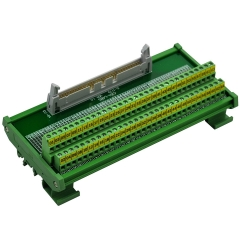"CZH-LABS DIN Rail Mount IDC-64 Male Header Connector Breakout Board Interface Module, IDC Pitch 0.1"", Terminal Block Pitch 0.2"""