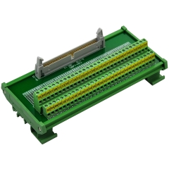 "CZH-LABS DIN Rail Mount IDC-60 Male Header Connector Breakout Board Interface Module, IDC Pitch 0.1"", Terminal Block Pitch 0.2"""