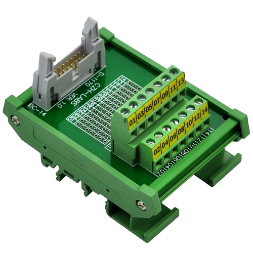 "CZH-LABS DIN Rail Mount IDC-14 Male Header Connector Breakout Board Interface Module, IDC Pitch 0.1"", Terminal Block Pitch 0.2"""