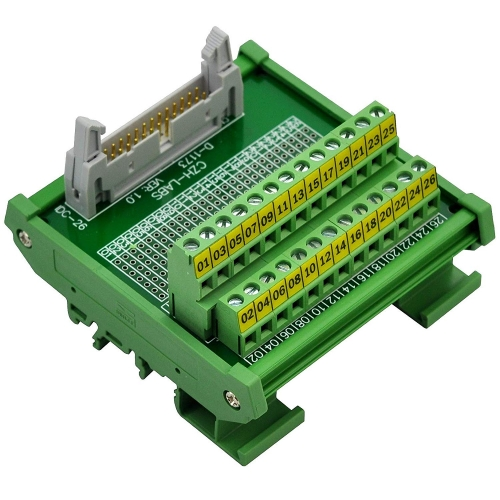 "CZH-LABS DIN Rail Mount IDC-26 Male Header Connector Breakout Board Interface Module, IDC Pitch 0.1"", Terminal Block Pitch 0.2"""