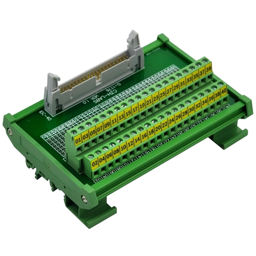"CZH-LABS DIN Rail Mount IDC-40 Male Header Connector Breakout Board Interface Module, IDC Pitch 0.1"", Terminal Block Pitch 0.2"""