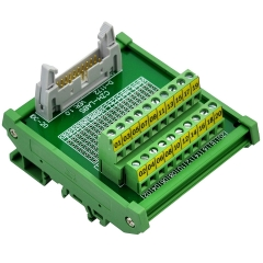 "CZH-LABS DIN Rail Mount IDC-20 Male Header Connector Breakout Board Interface Module, IDC Pitch 0.1"", Terminal Block Pitch 0.2"""