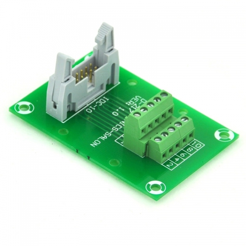 "ELECTRONICS-SALON IDC10 2x5 Pins 0.1"" Male Header Breakout Board, Terminal Block, Connector."