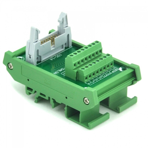 ELECTRONICS-SALON IDC-16 DIN Rail Mounted Interface Module, Breakout Board, Terminal Block.