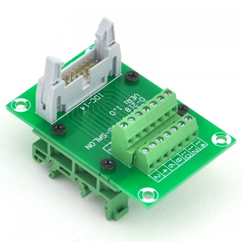 ELECTRONICS-SALON IDC14 Header Interface Module with Simple DIN Rail Mounting feet.