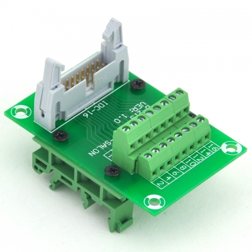 ELECTRONICS-SALON IDC16 Header Interface Module with Simple DIN Rail Mounting feet.