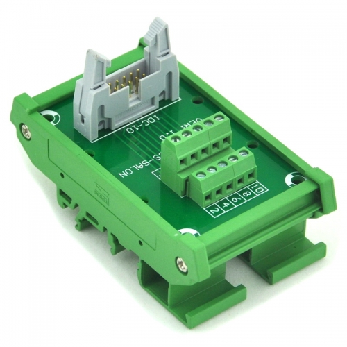 ELECTRONICS-SALON IDC-10 DIN Rail Mounted Interface Module, Breakout Board, Terminal Block.