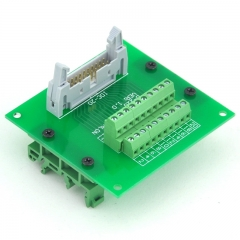 ELECTRONICS-SALON IDC20 Header Interface Module with Simple DIN Rail Mounting feet.