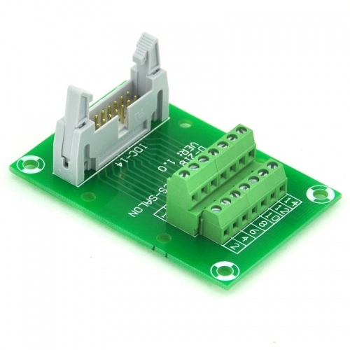 "ELECTRONICS-SALON IDC14 2x7 Pins 0.1"" Male Header Breakout Board, Terminal Block, Connector."