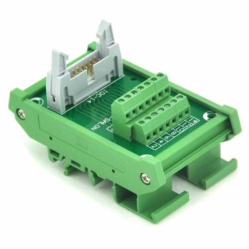 ELECTRONICS-SALON IDC-14 DIN Rail Mounted Interface Module, Breakout Board, Terminal Block.