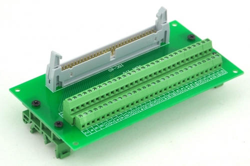 ELECTRONICS-SALON IDC60 Header Interface Module with Simple DIN Rail Mounting feet.
