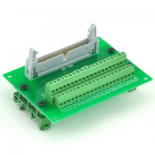ELECTRONICS-SALON IDC40 Header Interface Module with Simple DIN Rail Mounting feet.