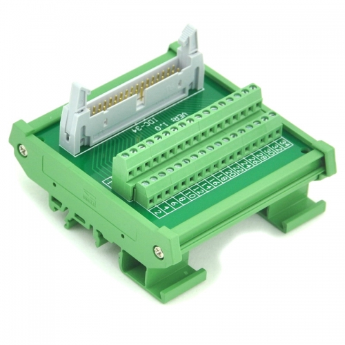 ELECTRONICS-SALON IDC-34 DIN Rail Mounted Interface Module, Breakout Board, Terminal Block.