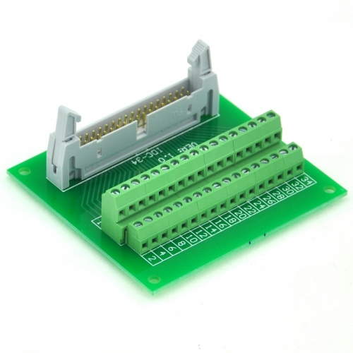 "ELECTRONICS-SALON IDC34 2x17 Pins 0.1"" Male Header Breakout Board, Terminal Block, Connector."