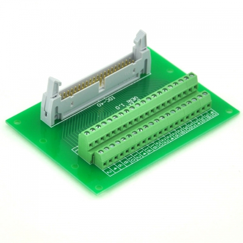 "ELECTRONICS-SALON IDC40 2x20 Pins 0.1"" Male Header Breakout Board, Terminal Block, Connector."