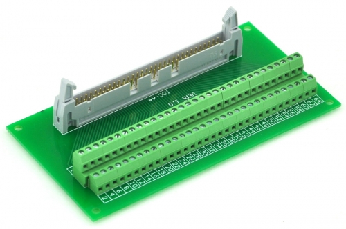 "ELECTRONICS-SALON IDC64 2x32 Pins 0.1"" Male Header Breakout Board, Terminal Block, Connector."