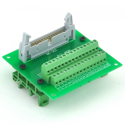 ELECTRONICS-SALON IDC30 Header Interface Module with Simple DIN Rail Mounting feet.
