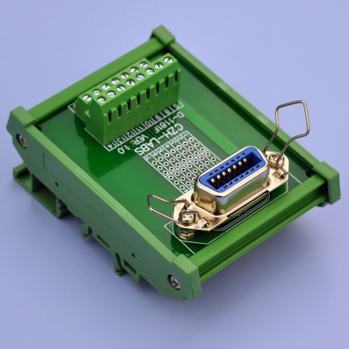 "CZH-LABS DIN Rail Mount 14-Pin 0.085"" Centronics Female Ribbon Connector Interface Module, Screw Terminal Block Breakout Board."