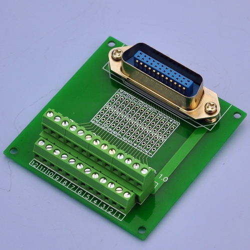 "CZH-LABS 24-Pin 0.085"" Centronics Vertical Male Ribbon Connector Screw Terminal Block Breakout Board."