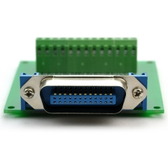 "CZH-LABS 24-Pin 0.085"" Centronics Male Ribbon Connector Screw Terminal Block Breakout Board."