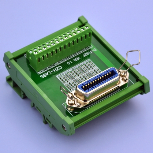 "CZH-LABS DIN Rail Mount 24-Pin 0.085"" Centronics Female Ribbon Connector Interface Module, Screw Terminal Block Breakout Board."