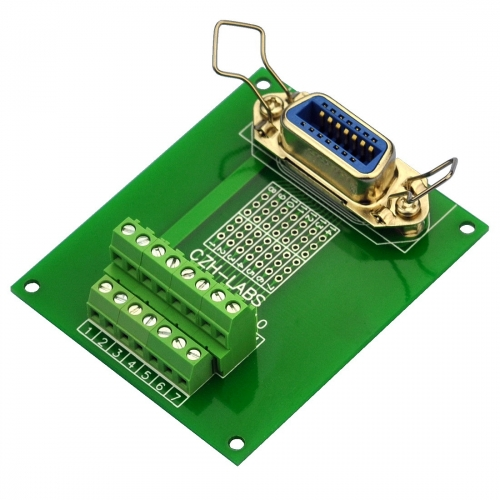 "CZH-LABS 14-Pin 0.085"" Centronics Vertical Female Ribbon Connector Screw Terminal Block Breakout Board."