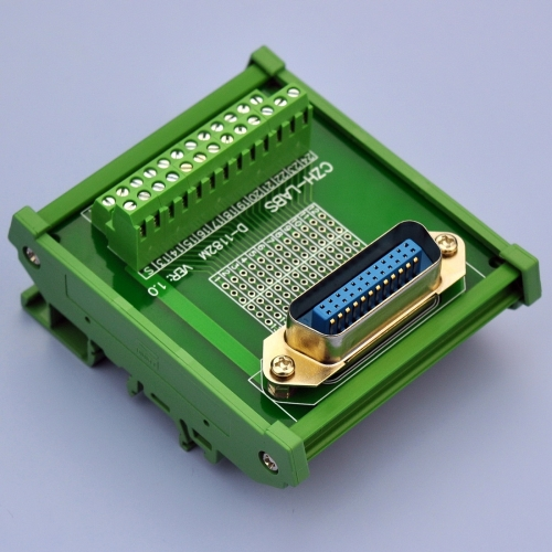 "CZH-LABS DIN Rail Mount 24-Pin 0.085"" Centronics Male Ribbon Connector Interface Module, Screw Terminal Block Breakout Board."