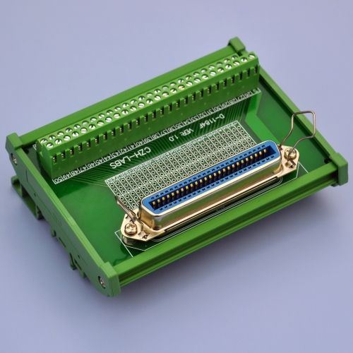 "CZH-LABS DIN Rail Mount 50-Pin 0.085"" Centronics Female Ribbon Connector Interface Module, Screw Terminal Block Breakout Board."