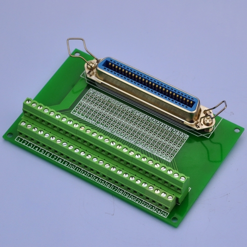 "CZH-LABS 50-Pin 0.085"" Centronics Vertical Female Ribbon Connector Screw Terminal Block Breakout Board."