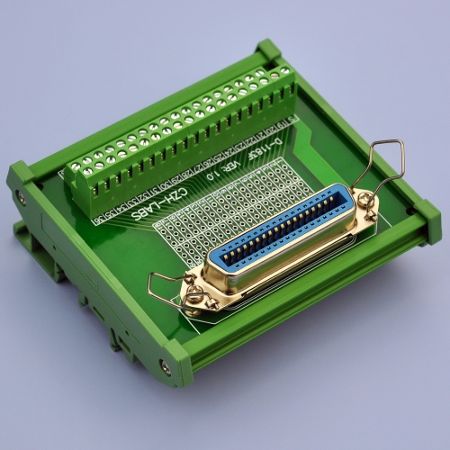 "CZH-LABS DIN Rail Mount 36-Pin 0.085"" Centronics Female Ribbon Connector Interface Module, Screw Terminal Block Breakout Board."