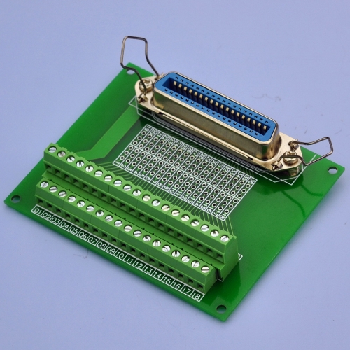 "CZH-LABS 36-Pin 0.085"" Centronics Vertical Female Ribbon Connector Screw Terminal Block Breakout Board."