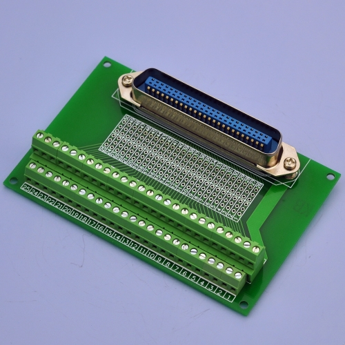 "CZH-LABS 50-Pin 0.085"" Centronics Vertical Male Ribbon Connector Screw Terminal Block Breakout Board."