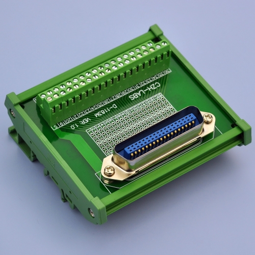 "CZH-LABS DIN Rail Mount 36-Pin 0.085"" Centronics Male Ribbon Connector Interface Module, Screw Terminal Block Breakout Board"