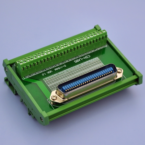 "CZH-LABS DIN Rail Mount 50-Pin 0.085"" Centronics Male Ribbon Connector Interface Module, Screw Terminal Block Breakout Board"