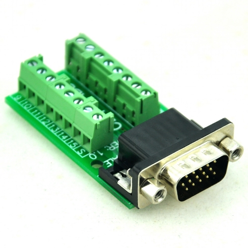 CZH-LABS Slim Right Angle D'SUB DB15HD Male Header Breakout Board Module, D-SUB.