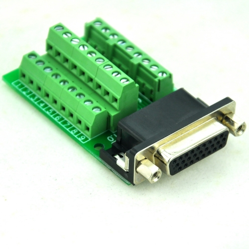 CZH-LABS Slim Right Angle D'SUB DB26HD Female Header Breakout Board Module, D-SUB.