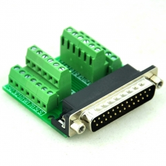 CZH-LABS Slim Right Angle D'SUB DB25 Male Header Breakout Board Module, D-SUB.