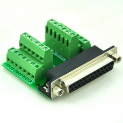 CZH-LABS Slim Right Angle D'SUB DB25 Female Header Breakout Board Module, D-SUB.
