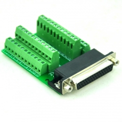 CZH-LABS Slim Right Angle D'SUB DB44HD Female Header Breakout Board Module, D-SUB.