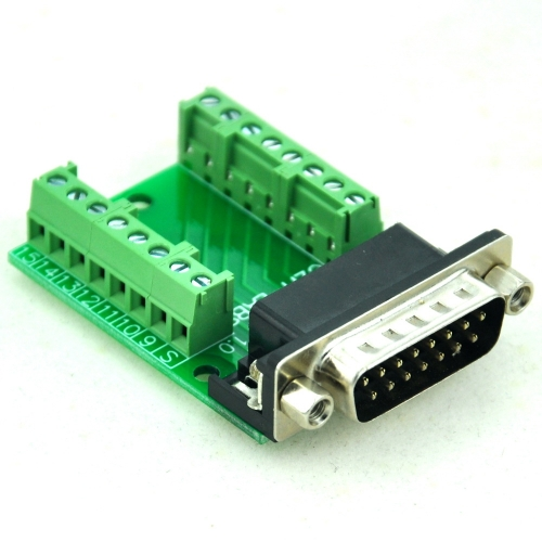 CZH-LABS Slim Right Angle D'SUB DB15 Male Header Breakout Board Module, D-SUB.