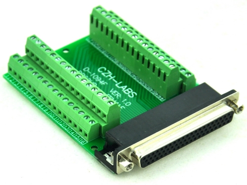CZH-LABS Slim Right Angle D'SUB DB62HD Female Header Breakout Board Module, D-SUB.