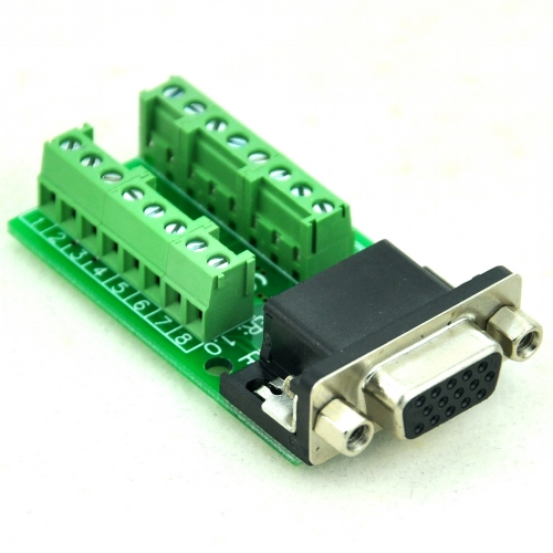 CZH-LABS Slim Right Angle D'SUB DB15HD Female Header Breakout Board Module, D-SUB.