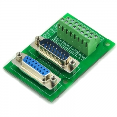 ELECTRONICS-SALON D-SUB DB15 Male/Female Header Breakout Board, DSUB.