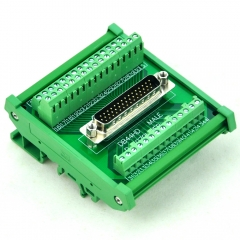 CZH-LABS DIN Rail Mount D-SUB DB44HD Male Header Interface Module, DSUB Breakout Board.