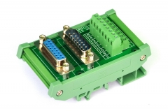 ELECTRONICS-SALON DIN Rail Mount D-SUB DB15 Male/Female Header Interface Module, DSUB Breakout Board.