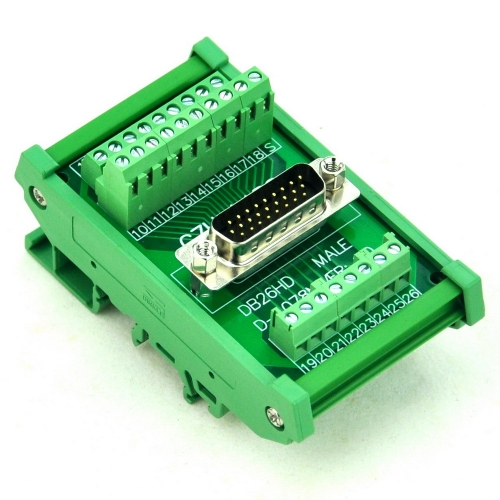 CZH-LABS DIN Rail Mount D-SUB DB26HD Male Header Interface Module, DSUB Breakout Board.