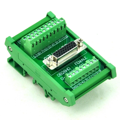 CZH-LABS DIN Rail Mount D-SUB DB26HD Female Header Interface Module, DSUB Breakout Board.
